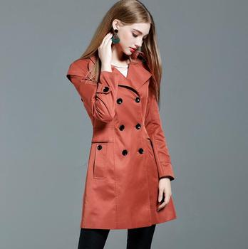 khaki medium-long trench coats female 2020 spring and autumn elegant skirt double breasted trench coat women turn-down collar