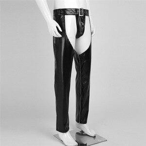 Image 5 - YiZYiF הומו Mens סקסי הלבשה תחתונה Fuax עור נמתח מפשעת רוכסן הדוק מכנסיים חותלות מכנסיים חלולים החוצה עם חוטיני