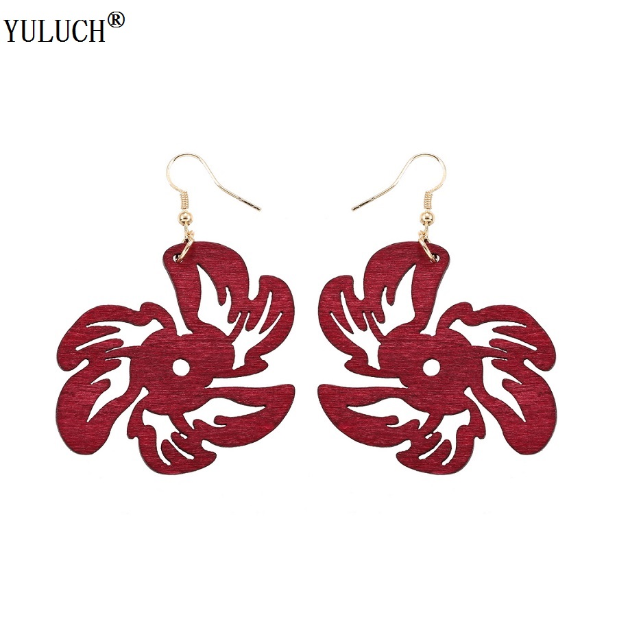 YULUCH 1 Pair Retail Natural Africa Wooden Earrings Plants Hollow Flower Gold Hook Wood Dangle Earrings For Girls Woman Gift