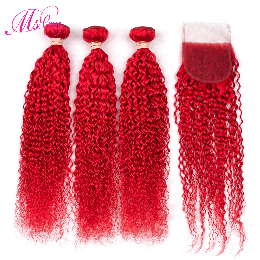 Ms Love Red Bundles With Closure Brazilian Kinky Curly Hair Bundles With Closure Remy Human Hair