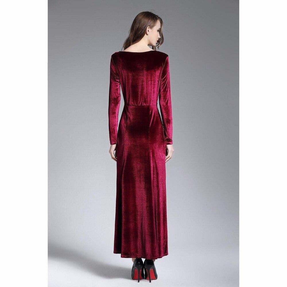 baf72ad748384 Women Sexy Velvet Dress Long Sleeve V Neck Front Split Maxi Dresses ...