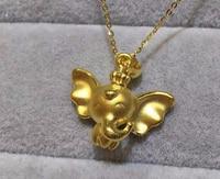 Hot sale fashion Pure 999 24k Yellow Gold Flying Elephant Pendant 1.50g