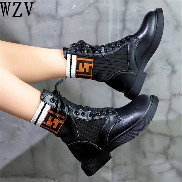 2018 yeni moda kadın kış çorap çizmeler dantel-up yarım çizmeler örme streç kumaş Martin çizmeler yuvarlak ayak kadın çizmeler