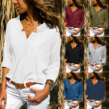 2019 Europe and the new casual solid color blouse V-neck long-sleeved womens shirt