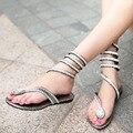 DreamShining Mulheres Sandálias Flats Verão Na Altura Do Joelho Sexy Serpentina Sandálias Das Mulheres Flats Casual Shoes Designer Sandales frete grátis