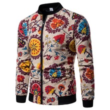 Autumn 2018 New Fashion Chinese national style Mens Jacket Flower Print Bomber zipper mens linen Casual jacket Top