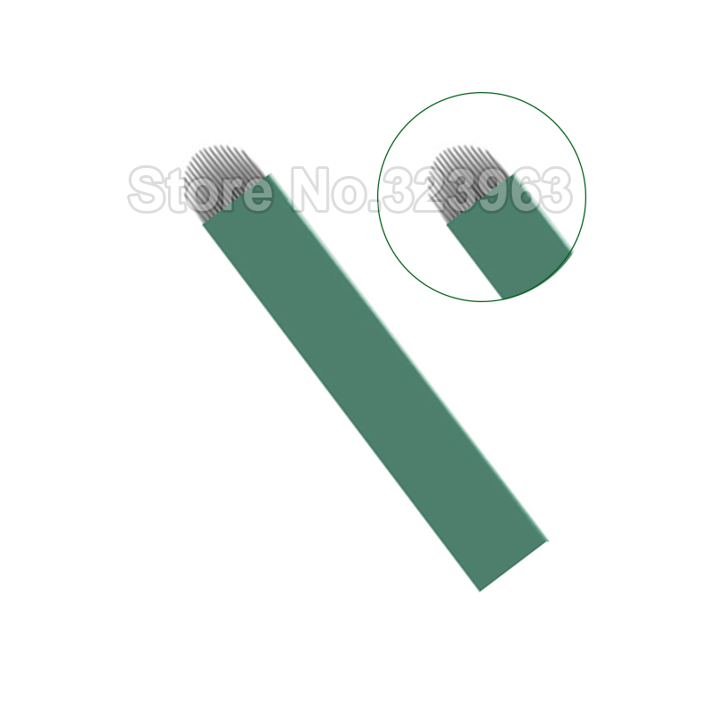 0 16mm Lamina Para Tebori for Permanent Makeup Tattoo Blade 9 12 14 15 18 21 15U 16U 12 U Green Microblading Needles Manual Pen in Tattoo Needles from Beauty Health