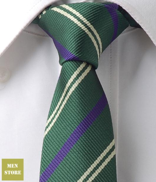 "Dark Green Purple Stripe Men Jacquard Woven Skinny Slim Narrow 2.5"" Necktie 6.5 cm Neckwear Wedding Party Tie LT212"