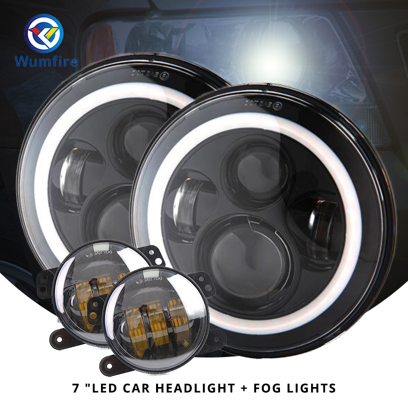 7 Motorcycle White Amber Halo Angel Eye DRL Led Headlight+2PCS 4.5 Fog Lights Assembly For Harley Davidson