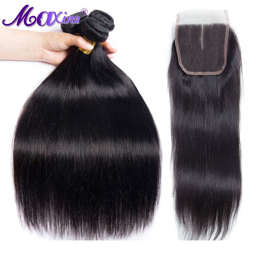 Straight Hair Bundles With Closure Malaysian Hair Bundles With Closure Human Hair 3 Bundles With Closure
