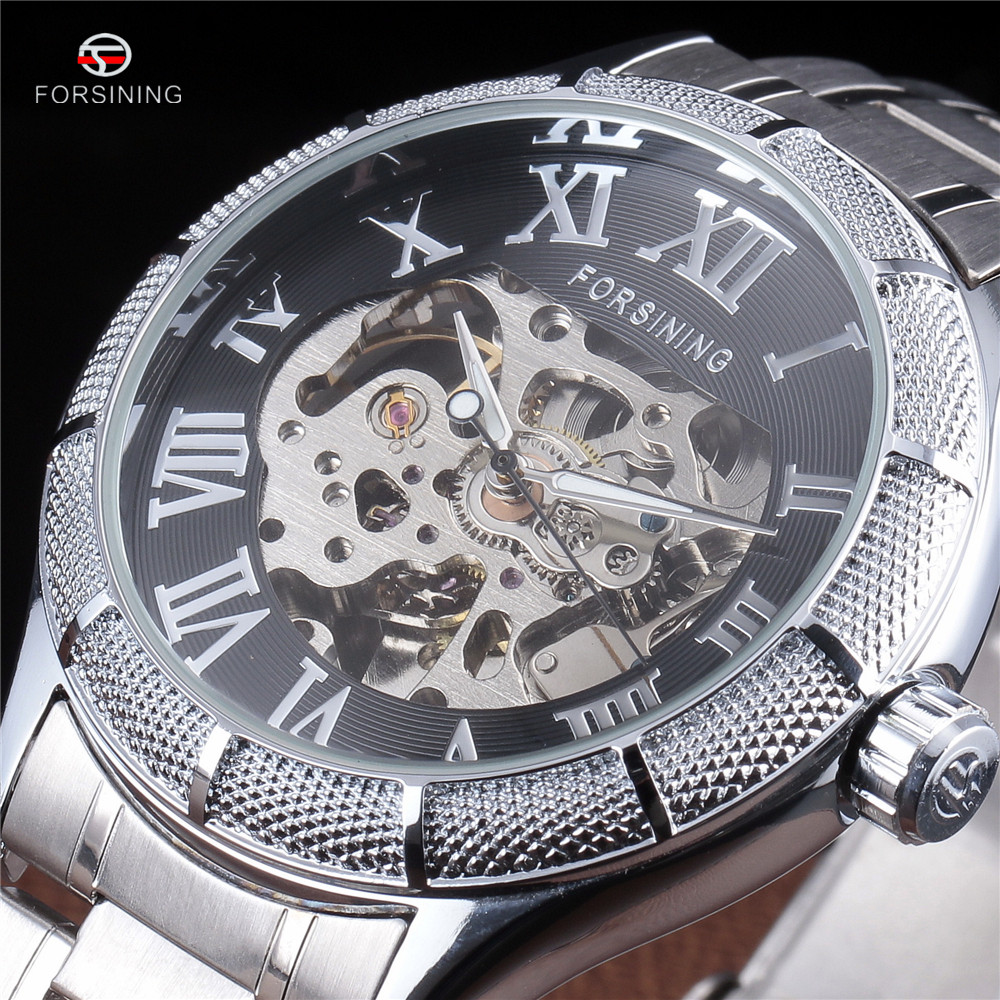 FORSINING New Luxury Mens Roman Skeleton Automatic Self-wind Watch Mechanical Stainless Steel Clock Military Wrist Watches Gift mechanical leather wrist watch gift new mens square skeleton self wind watches