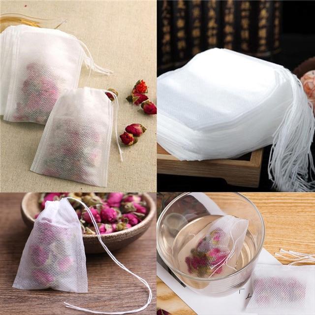 100 Unids/lote Perfumadas Bolsitas de Té 5.5x7 CM Vacío Bolsas de Té Con Una Cuerda Papel de Filtro de Hierba Suelta Bolsas de Té Sello de curar de te