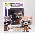 1 pcs funko pop 48 marve guardians of the galaxy montar rocket raccoon boneca figura super-heróis modelo coleção pvc