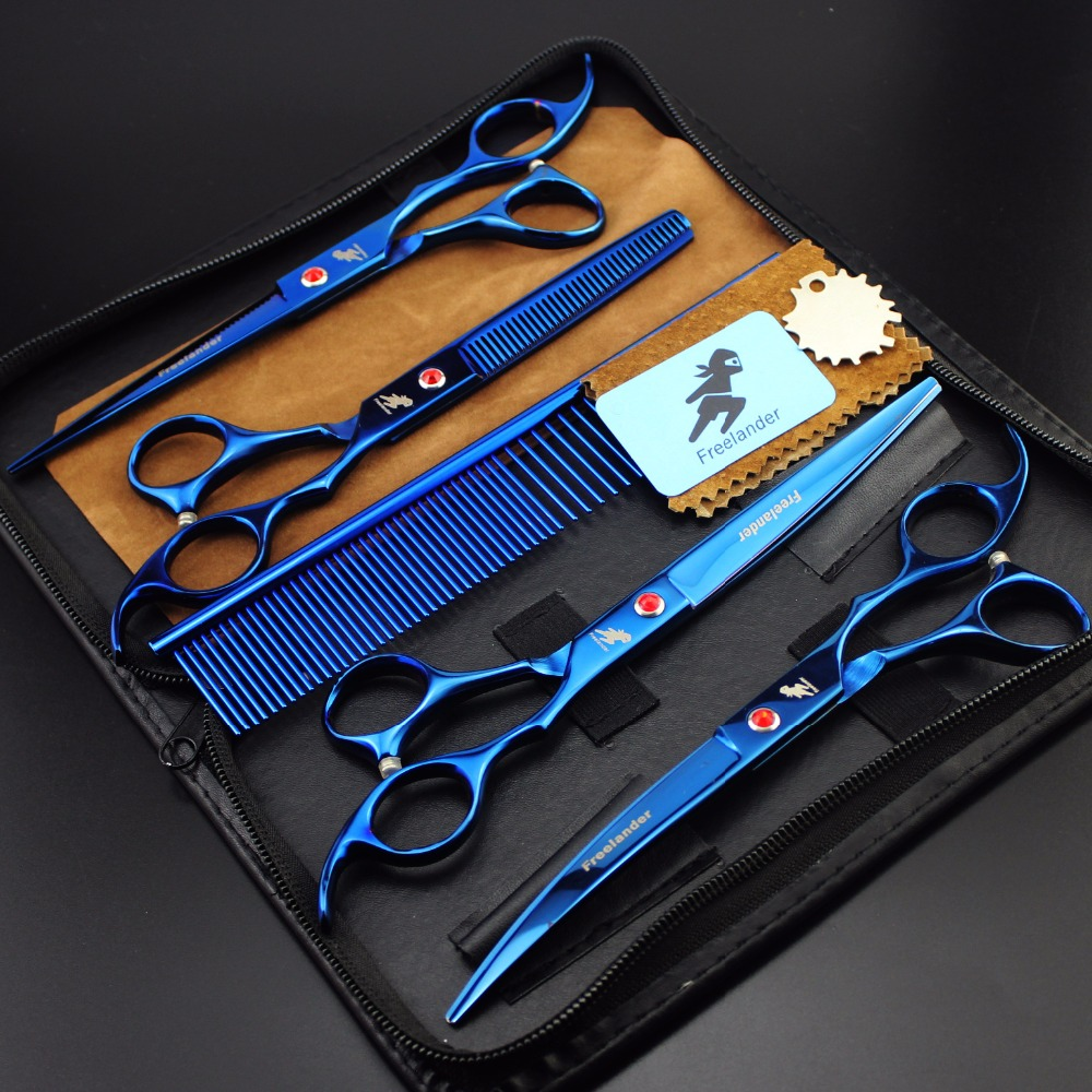 7.0 Inch Blue 4 Piece Set Pet Grooming Scissors Pet Grooming Beauty Kit Hair Trimming Hair Care Tools Pet Supplies