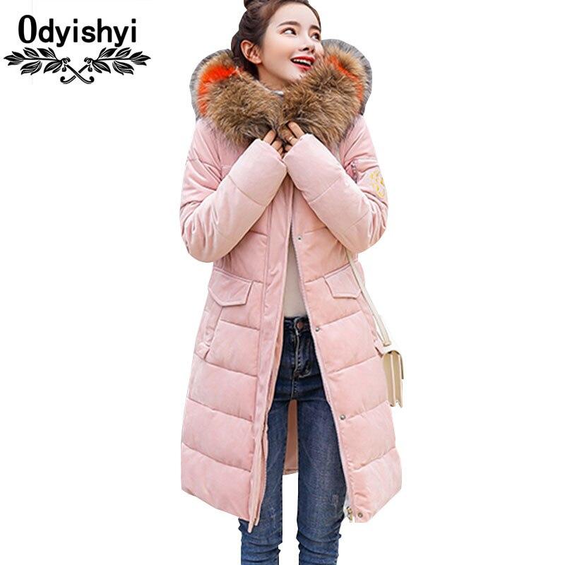 Di Inverno Plus Ucraino Cappotto Parka Colour Donne Lungo Aderente Collo Hs69 blue 2019 Size Grande Oro pink gray Beige Pelliccia Cotone Velluto Giacca Femminile black Imbottiture Outrwear caramel qfXXdaw