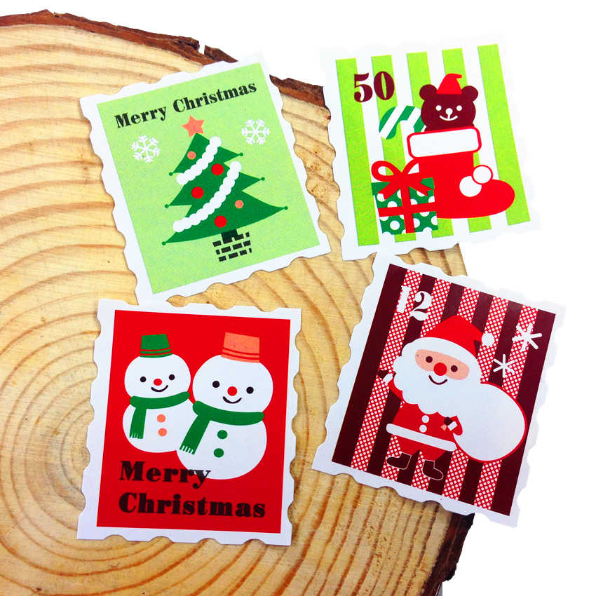 100 Pcs/lot Stamp Shape Seal Sticker Lable Christmas Gift Decor Stickers Bakery Cookie Packaging Bag Paper Seal Labels