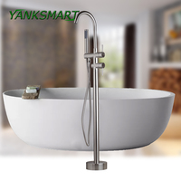 KEMAIDI Solid Brass Floor Standing Tub Shower Faucet with Hand Shower Head Bathroom Shower Systerm Set Bathtub Mixer Tap