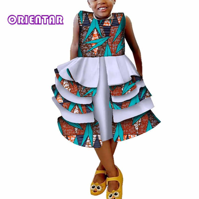 f5e47c6366 2019 Summer Kids Girl Ball Gown African Dresses African Print Sleeveless  Princess Dress Birthday Party Bazin Riche WYT297