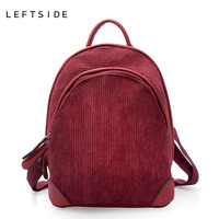 LEFTSIDE 2018 New Corduroy Girl S Backpacks Winter Bags Women S Back Pack Fashion Vintage Small