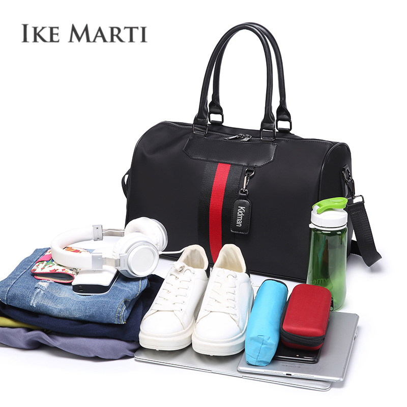 IKE MARTI Travel Bag Women Men Waterproof Duffle Bag Organizer Zipper Big Trolley  Hand Luggage Black Gym Weekend Travel Bags 6b8eb6875a4e4
