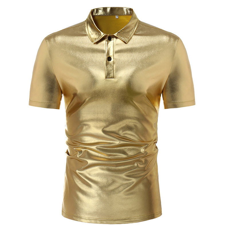 Shiny Night Club   Polo   Shirt Men 2018 Summer Short Sleeve   Polo   Homme Gold Metallic Mens   Polo   Shirts Hip Hop Dance Party Dress
