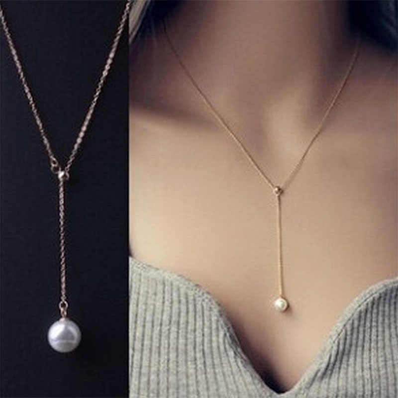 Simple Fashion Imitation Pearl Necklace For Women Golden Color Single Layer Boho Summer Necklace Gift For Friend Neck Jewelry