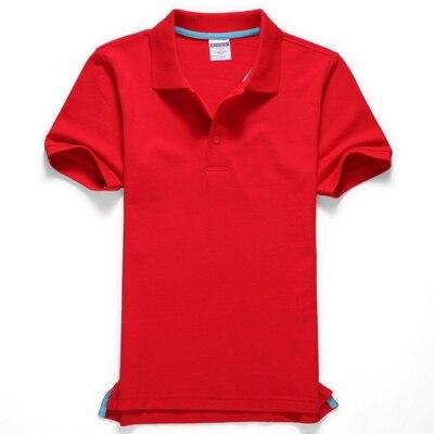 Черные, синие, белые, серые, желтые женские рубашки поло с коротким рукавом, женские повседневные рубашки поло, свободные женские рубашки больших размеров, хлопковые рабочие Топы - Цвет: Красный