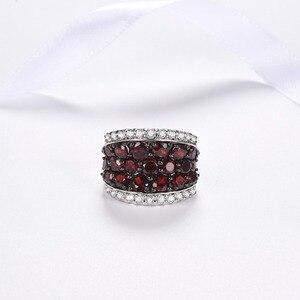 Image 4 - Hutang ガーネットリング天然トパーズ固体 925 スターリングシルバー婚約指輪赤宝石罰金エレガント女性