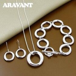 925 Jewelry O Shape Necklace Bracelets Earrings Jewelry Set For Women Anniversary Silver Jewelry Gift