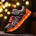 Carga usb levou shoes com light up incandescência tênis luminosa esporte shoes shoes iluminado tênis de simulação