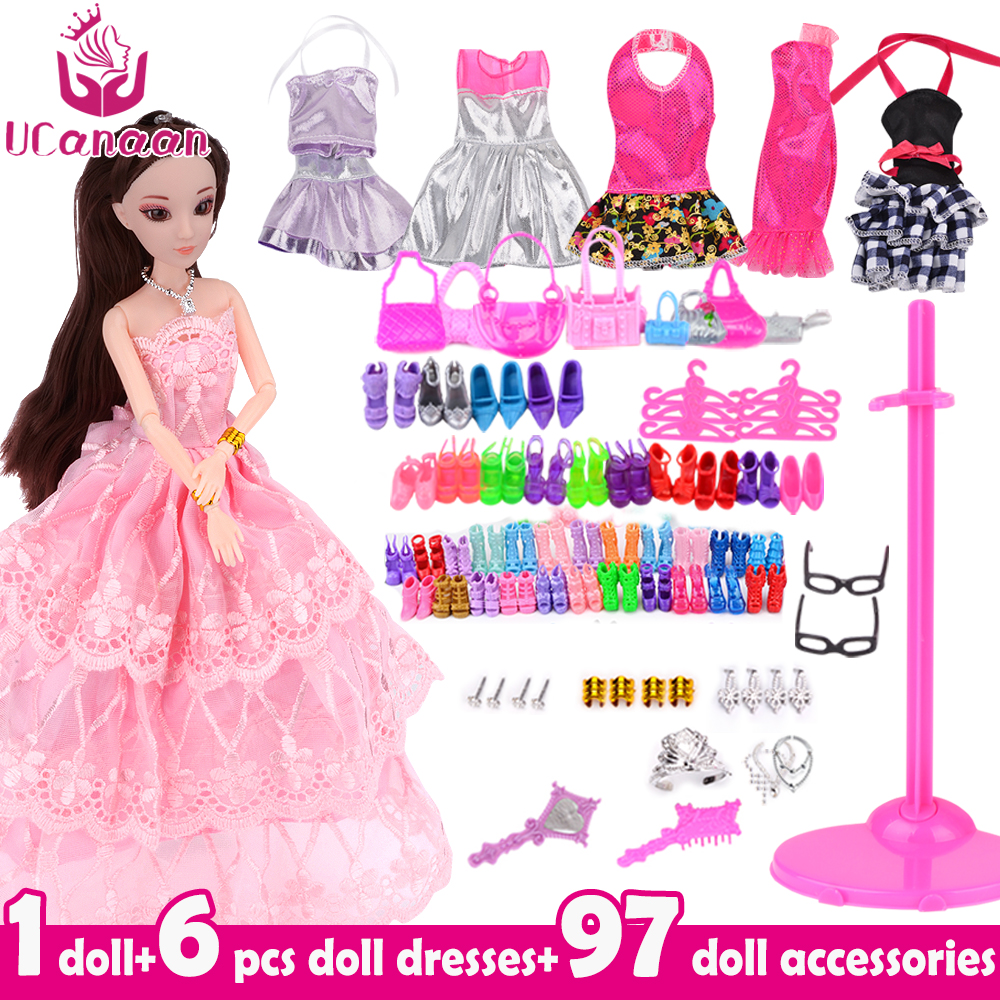 UCanaan Doll Fashionista Ultimate Dressup Girl Doll Toys Set Fashion Princess Dolls Accessories for barbie DIY цены онлайн