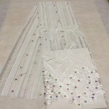 Latest 2018 African Lace Fabric With Beads And Stones Nigerian Wedding Embroidered French Tulle Lace Material For Brida GL87-1