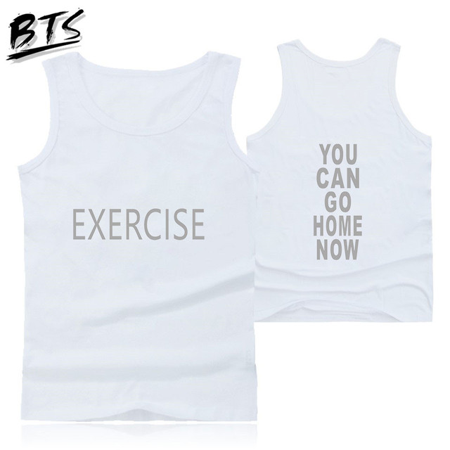 BTS Tank Tops You Can Go Home Now Kawaii Capless Sleeveless Women Clothes 2018 Hip Hop Tops Harajuku Kpop Print Plus Size A8857