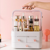 Dressing Table Makeup Organizer For Cosmetic 360° Rotation Acrylic Clamshell 3 Drawer Mirror Storage Box Lipstick Jewelry Holder