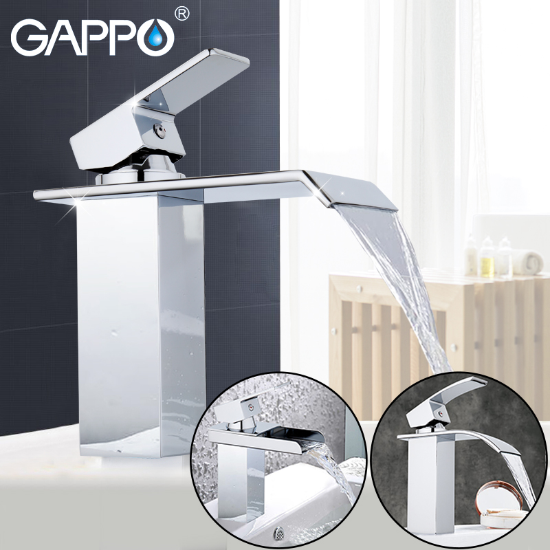 GAPPO water mixer tap Basin sink Faucet bathroom basin faucet mixer single hole brass faucet waterfall toilet basin tap YG1001 copper toilet wash basin faucet hot and cold bathroom sink basin faucet mixer water tap single hole basin faucet chrome plated