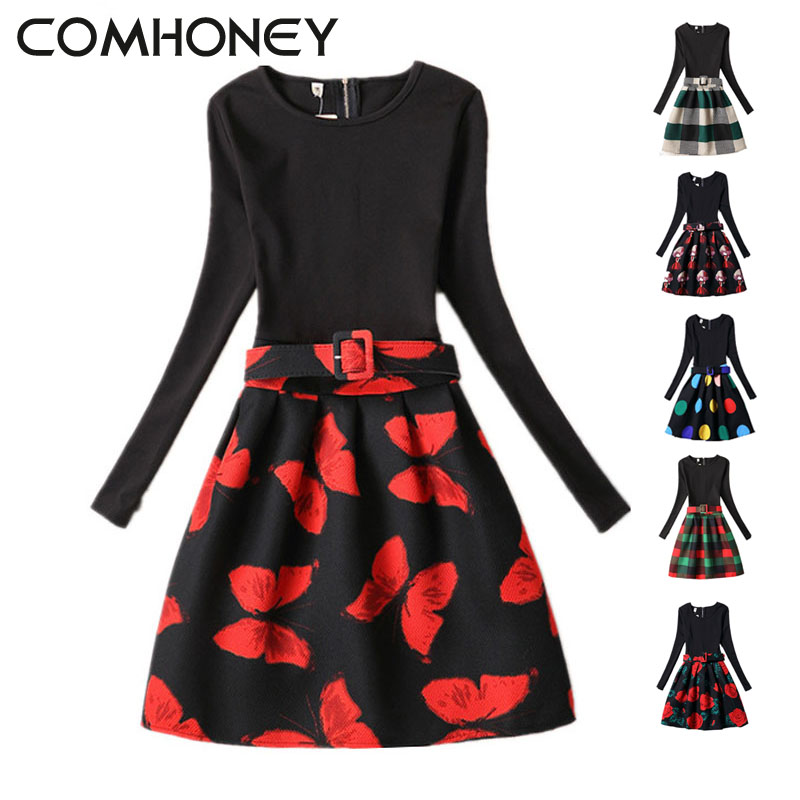 Girls Dress Winter Long Sleeve Flower Black Red Teenagers Girls Princess Tutu Dress Floral Rose Floral Kids Girls Dress Costume flutter sleeve elastic waist floral dress