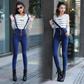 Unique 2016 New Women's High Waisted Denim Bib Pants Suspender High Waist Skinny Jeans
