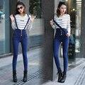 Unique 2016 Nuevas mujeres de Talle Alto Denim Bib Pantalones de La Liga de Alta Cintura Skinny Jeans