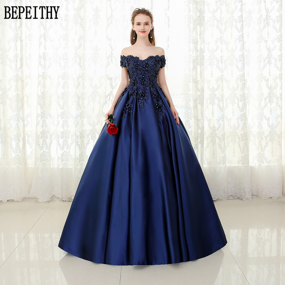 BEPEITHY Custom Made Vestido De Festa V-neck Navy Blue Lace Beaded Vintage Prom   Dress   Off The Shoulder Long   Evening     Dress   2019