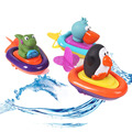 Baby Alligator toucan penguin Boat Ship Rally Floating Toys Wind Up Bath Motorboat Education Water Toy sassy