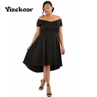 Yizekoar Summer Womens Off Shoulder Dresses Slash Neck Large Plus Size Sexy Swing Dress Vestido Casual