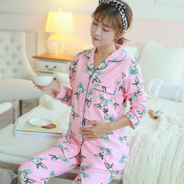 Maternity Sleepwear Cotton Materinty Nursing Pajamas Long Sleeve Pajamas Set Maternity Sleepwear Clothes for Pregnant Women B358