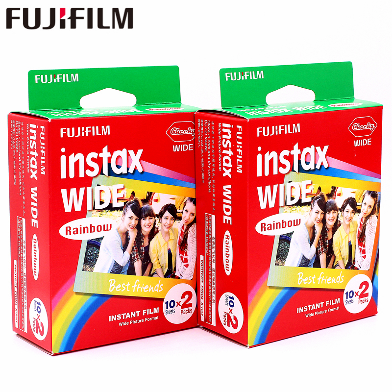 Genuine 40 Sheets Fujifilm Instax Wide Rainbow color Film for Fuji Instant Photo paper Camera 300/200/210/100/500AF