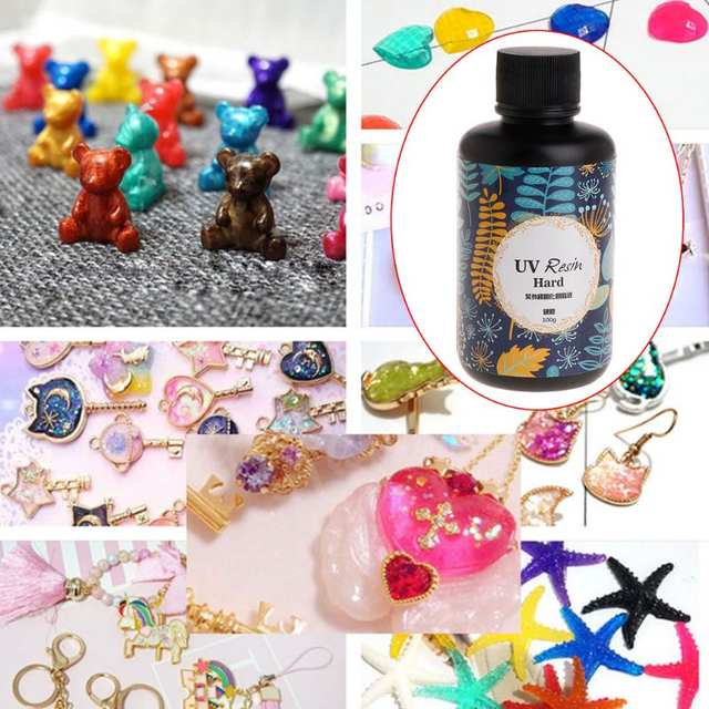 UV Resin DIY Epoxy Resin Handmade Jewelry Making Curing Hard Glue Quick Dry  Safe Non Toxic Transparent Solidify 100g W15