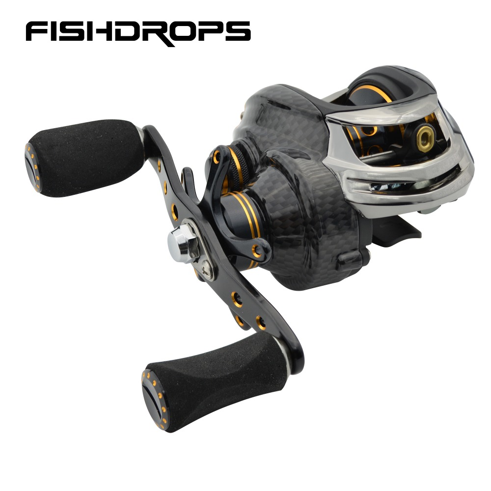 Fishidrops dos secciones de carrete de la pesca océano baitcast 5,5 KG Max arrastre pesca baitcaster carrete