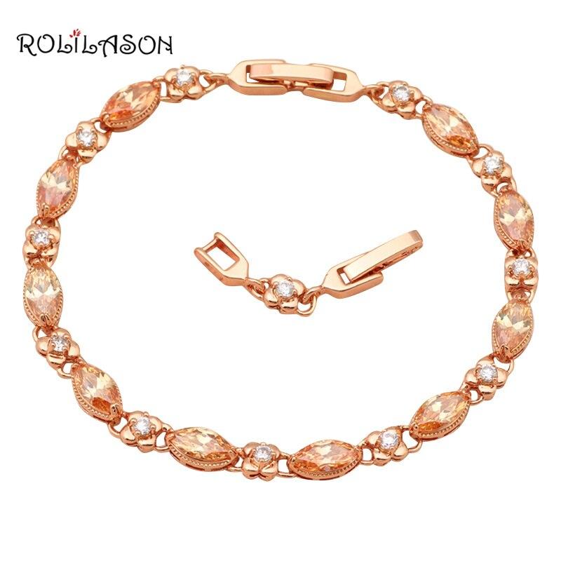 293495332c2a Dorado elegante pulseras diseño AAA cubic zirconia Champagne cristal salud moda  joyería TB521