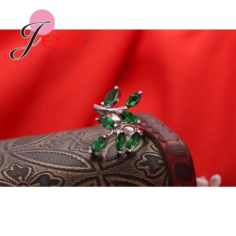 Mode søde friske blade 925 sterling sølv ring med fuld grøn - Smykker - Foto 4