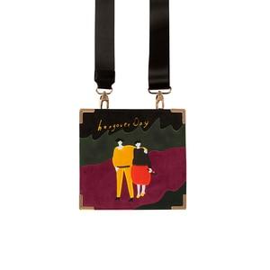 Image 3 - YIZISTORE Bolsos de mensajero retro con bordado de fieltro para mujer, de cuero PU vintage, para un día, Serie 2, 2018[FUN KIK]