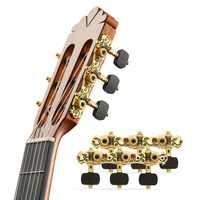 Classical Guitar Clavijeros Rose/Dragon Pattern Ebony Knob Guitar Tuning Pegs Zinc alloy Gold Plated Machine Heads AOS-028CWP
