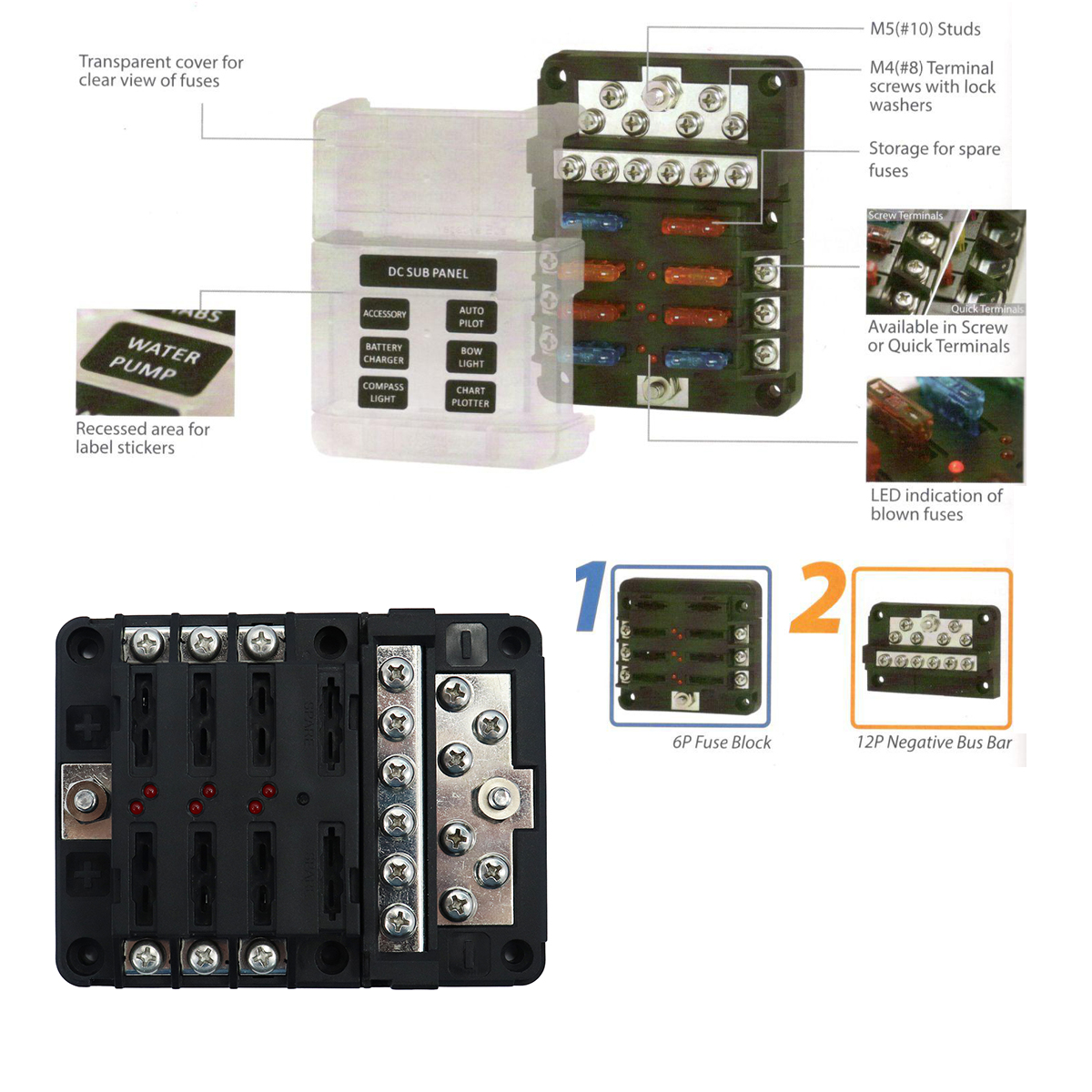F3618 DC Fuse Box With Lamp 12 Bit Negative Common Box Modular Design Blade  Fuse Block LED indicator For Car RV Boat-in Fuses from Automobiles &  Motorcycles ...